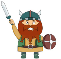 Viking With Spiked Hammer Or Flail And W-Viking With Spiked Hammer Or Flail And Wooden Shield Clipart Size: 115 Kb-13