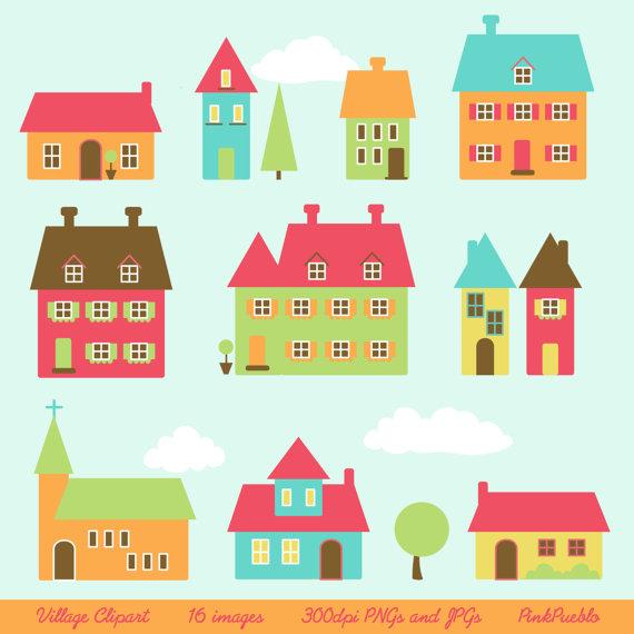 Village Clip Art Clipart Town Clip Art Clipart Houses Clip Art Clipart - Commercial Use