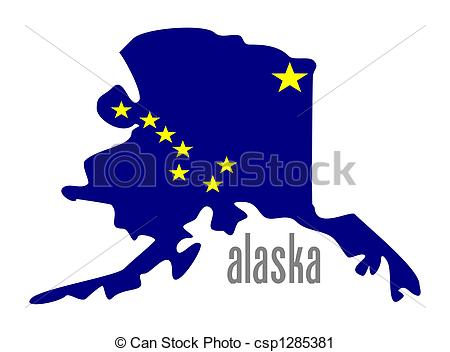 Vintage Alaska USA State Stamp Clip Artby daveh9004/193; alaska - Alaska outline and state flag illustation