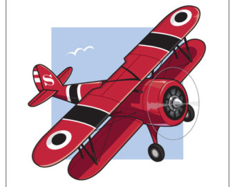 vintage biplane clipart - Biplane Clipart