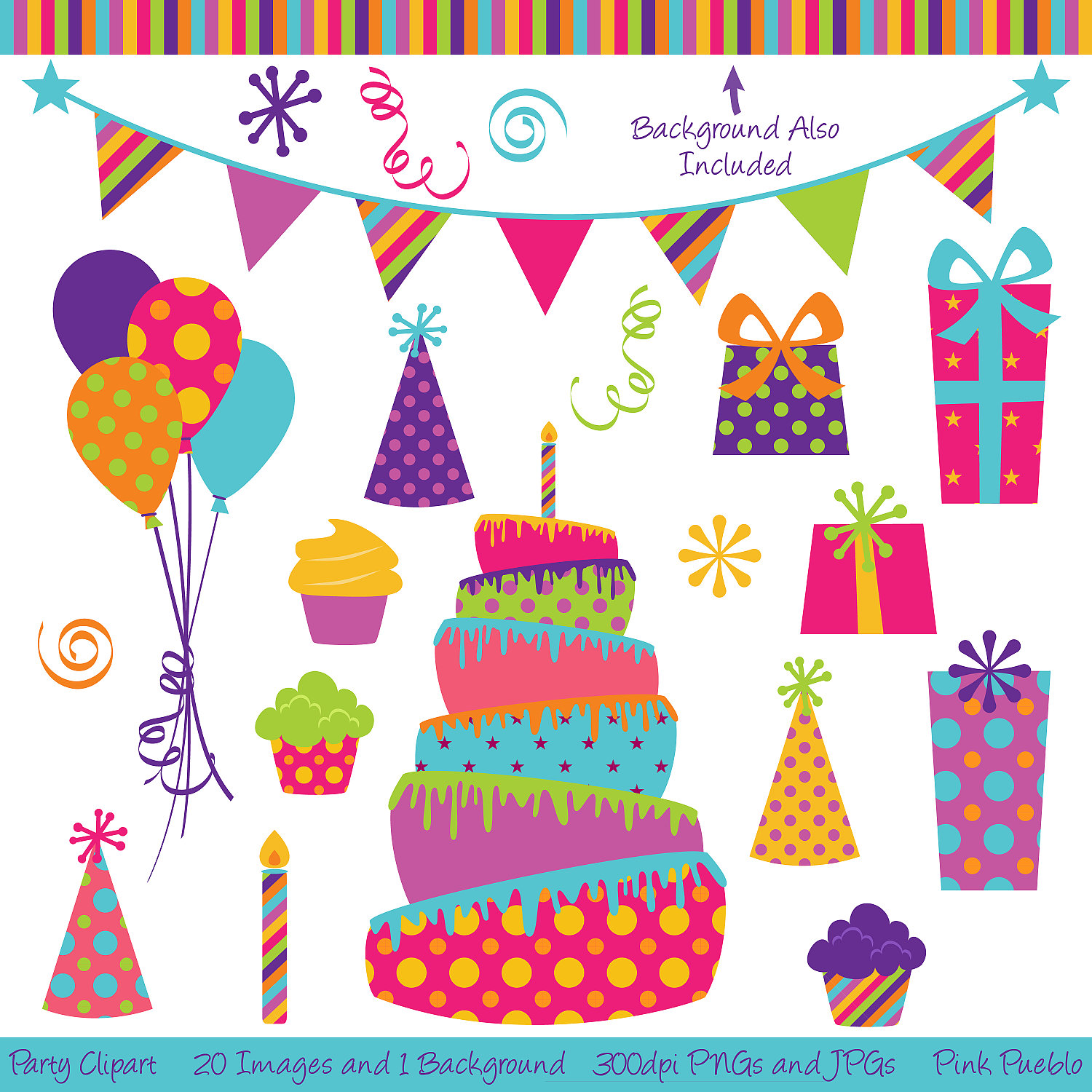 Vintage birthday party clipart .