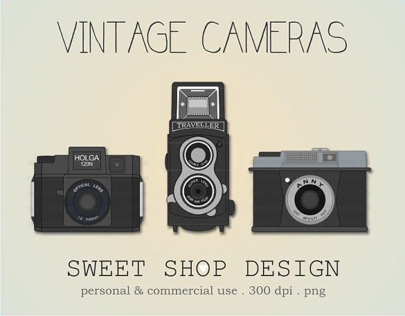 Vintage Camera Clip Art, Camera Ilustration, Photography Clip Art, Royalty  Free Clip Art
