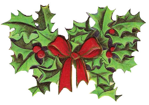 Vintage Christmas Holly Clipart
