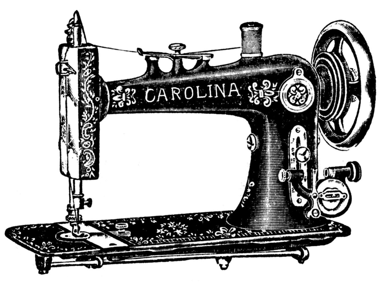 Vintage Clip Art u2013 Antique Sewing Machine u0026amp; Table