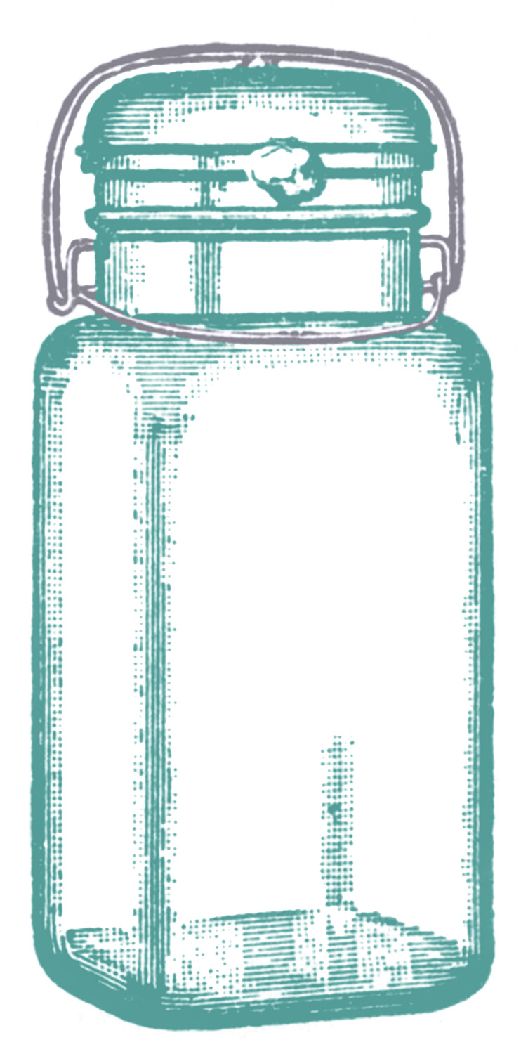 Vintage Clip Art u2013 Cute Glass Mason Jar u2013 Label