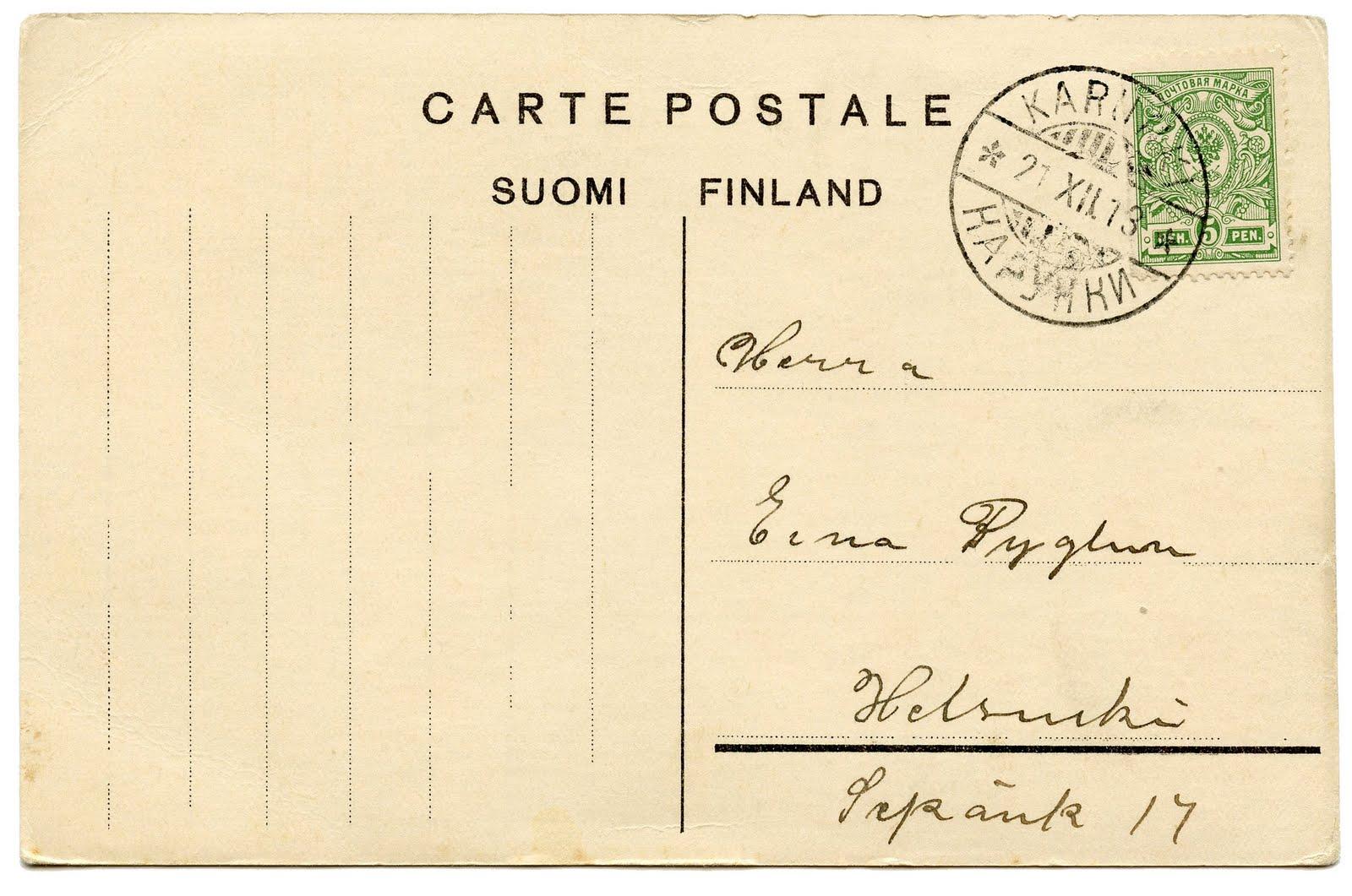 Vintage Clip Art u2013 Darling Snowman Postcard u2013 Finland