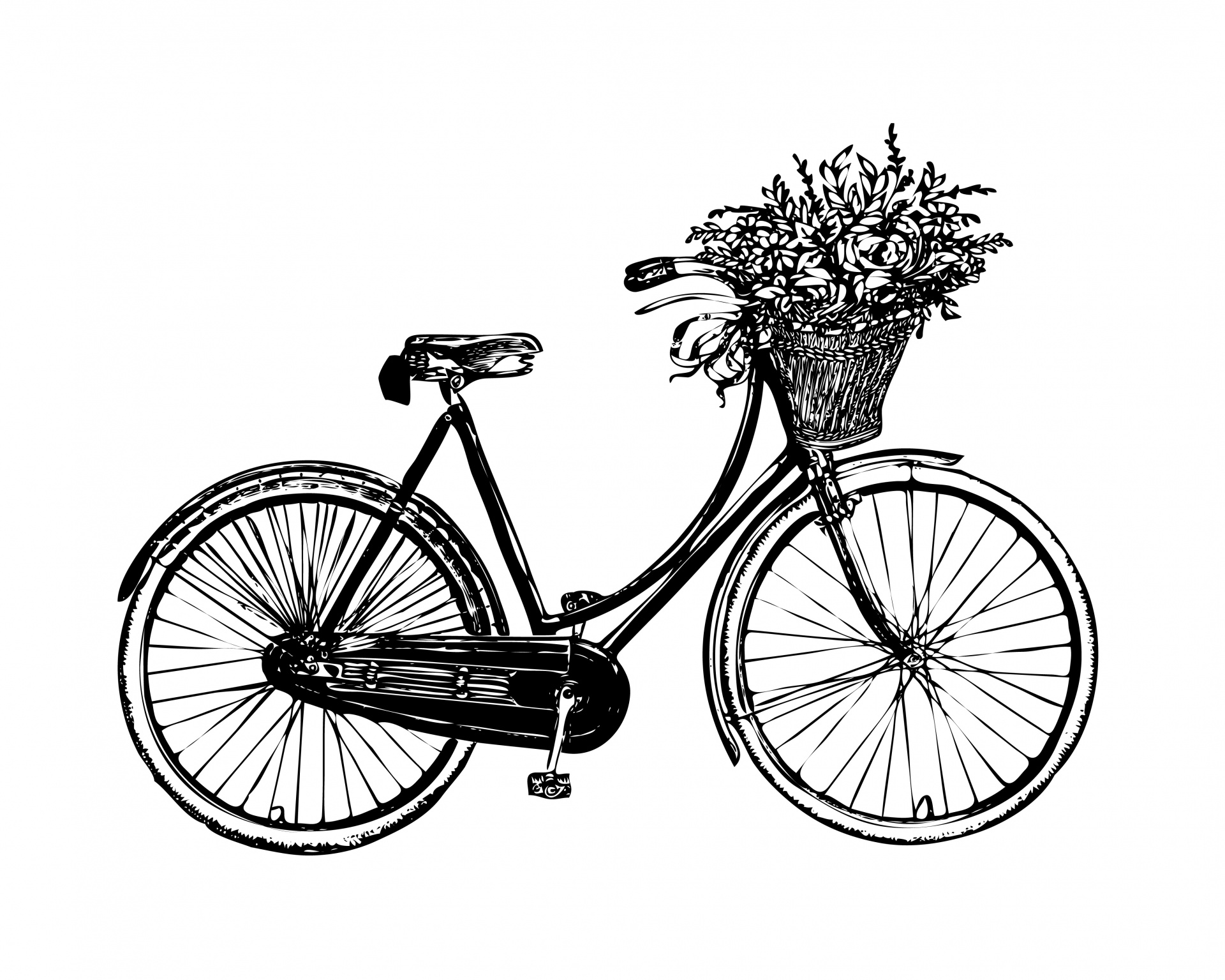 Bicycle Flowers Vintage Clipart