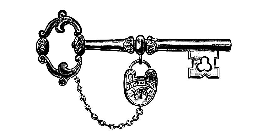 Download Vintage Key u0026 Lock Clip Art Image