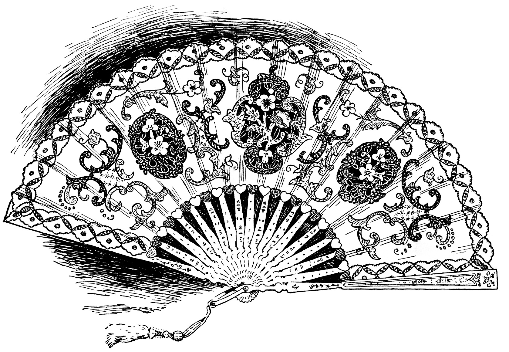Vintage Clipart Fan Ladies Hand Held Lace Fan Victorian Fan Graphic