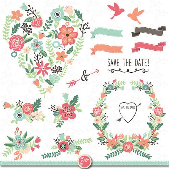 Wedding Clipart Design,Wedding Flora clipart,Vintage Flowers,Floral  Frames,Wreath,
