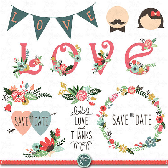 Wedding Clipart Design,Wedding Floral clipart,Vintage,Valentineu0027s,Floral  Frames,Wreath,Wedding invitaion Wd007 Personal and Commercial Use.
