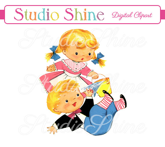 Vintage Digital Clipart - Jack and Jill - Printable Image Cute Little Girl and Boy Clip