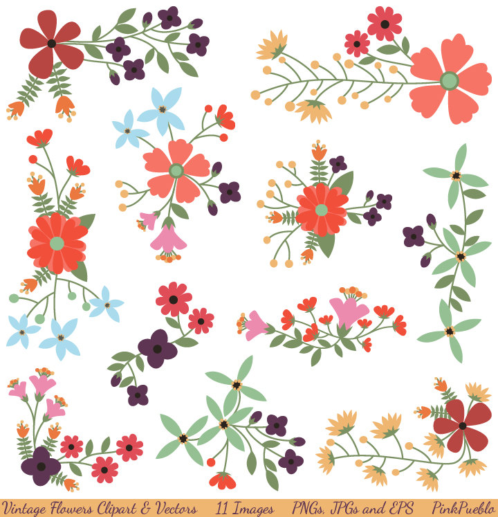 Vintage Flowers Clipart Clip Art and Vectors, Flower Decoration Clipart Clip Art - Commercial and Personal