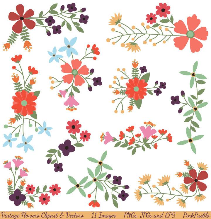 Vintage Flowers Clipart Clip .