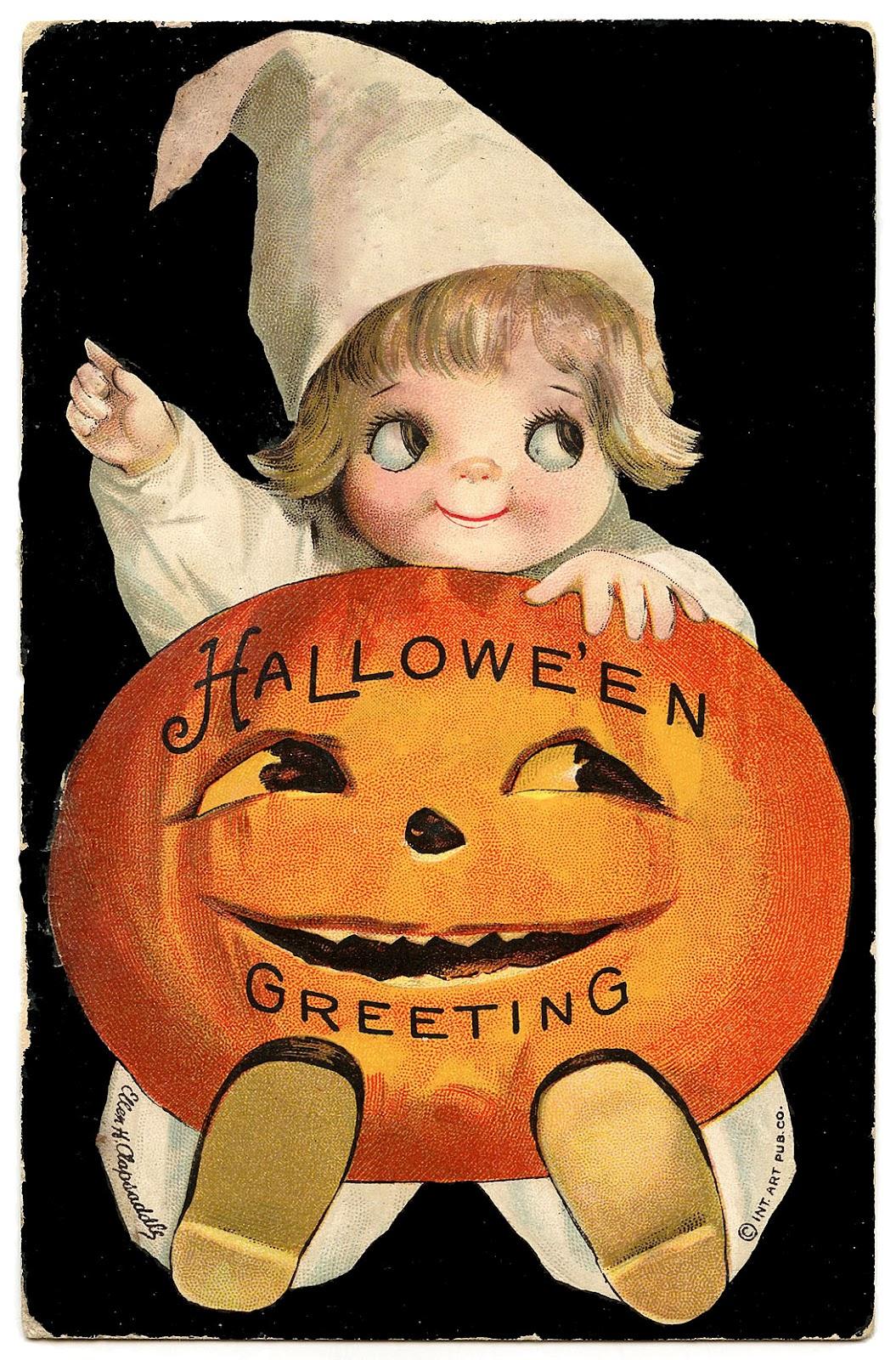Vintage Halloween Clip Art U2013 Googly -Vintage Halloween Clip Art u2013 Googly Eye Pumpkin Girl-13