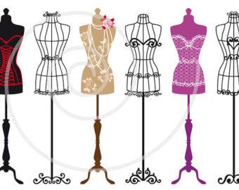 Vintage mannequin silhouettes, dress forms, tailoru0026#39;s dummy, fashion illustration, digital clip art set for shops, home deco, EPS, download