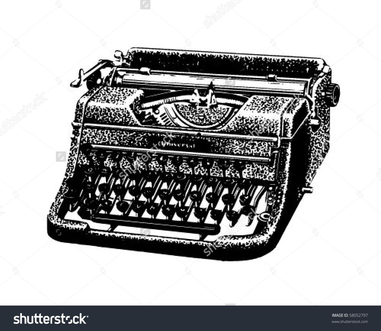 Vintage Typewriter - Retro Clip Art