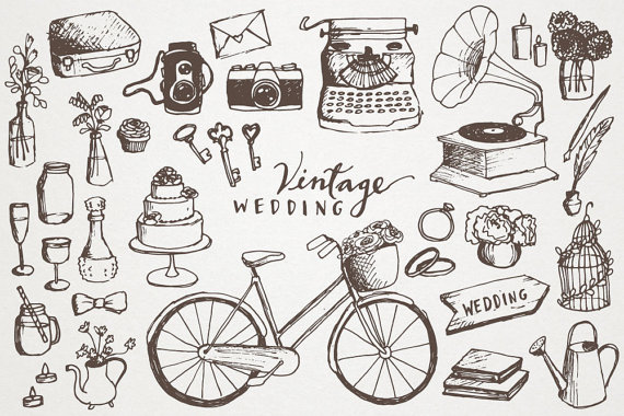 Vintage Wedding Clipart - Hand Drawn Cli-Vintage Wedding Clipart - hand drawn clip art, vintage elements, hipster wedding, diy-14