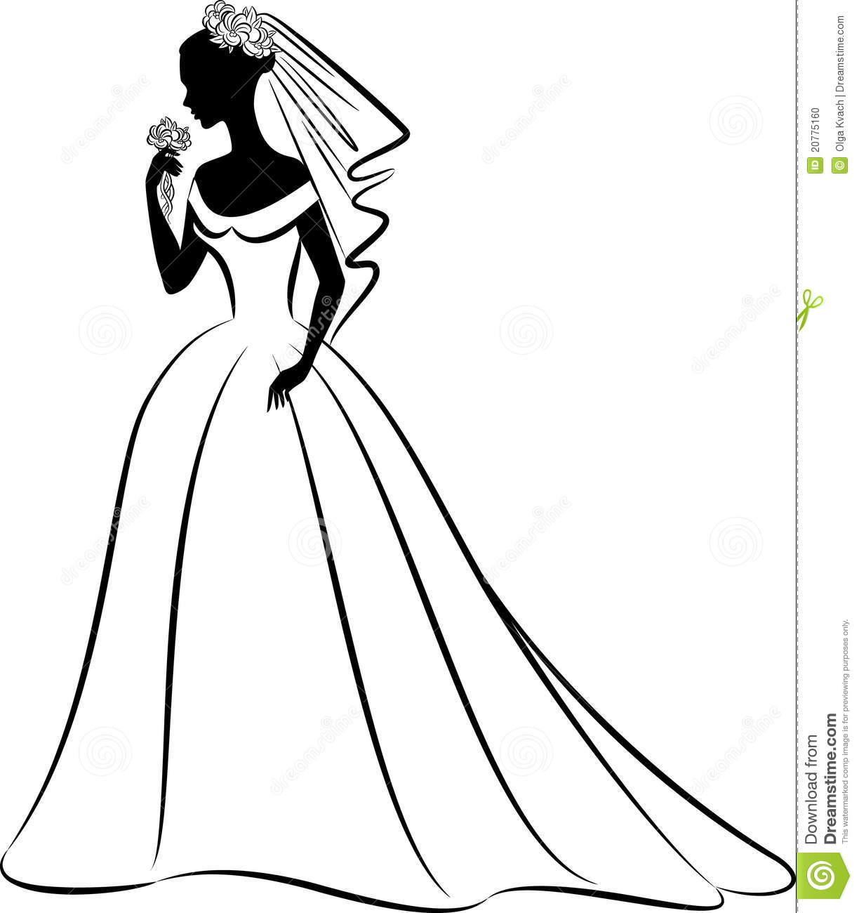 Vintage Wedding Dress Clipart Wedding Dress Clipart Outline Silhouette