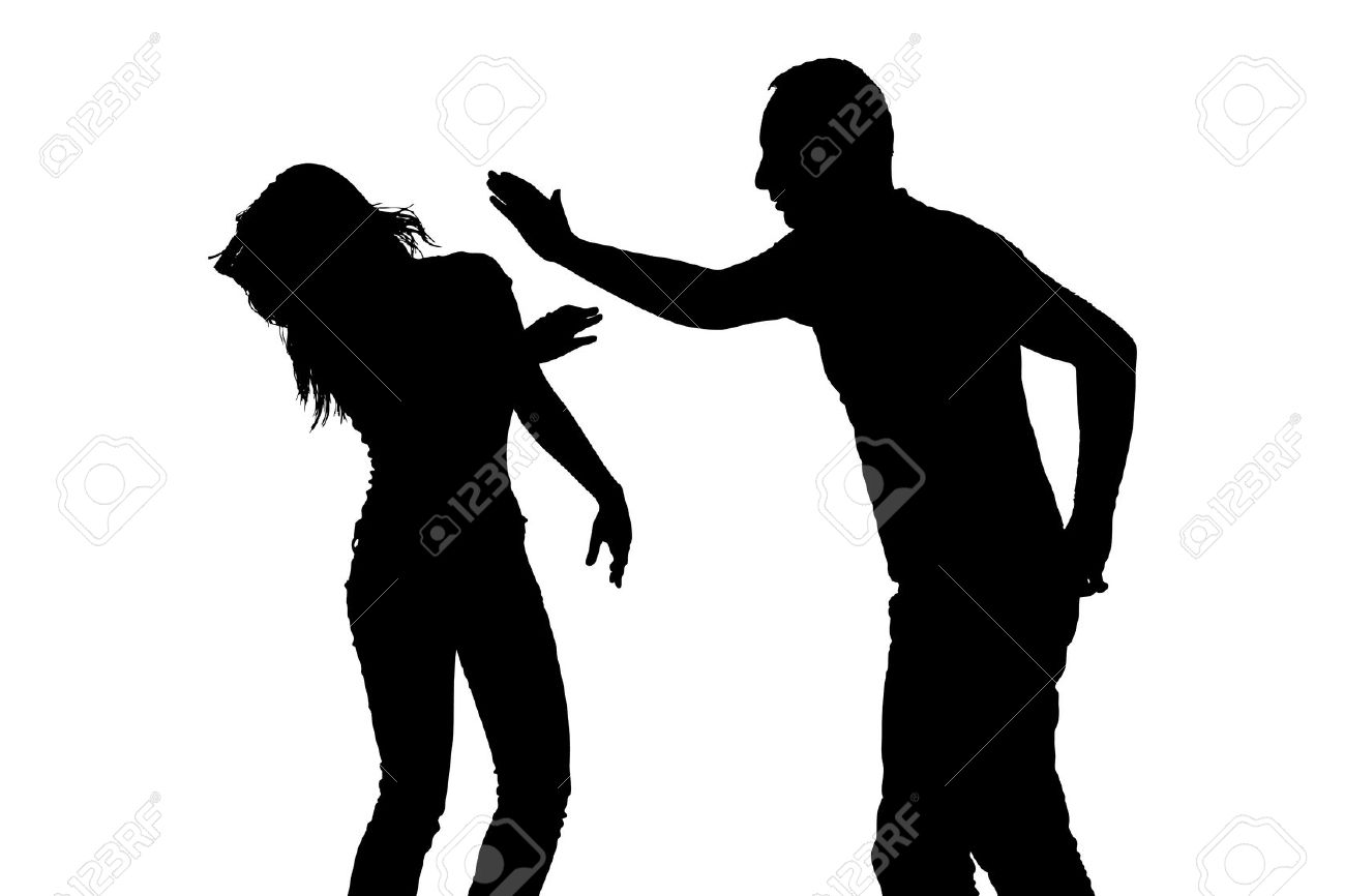 violence: Silhouette of a man slapping a woman depicting domestic violence isolated on white background