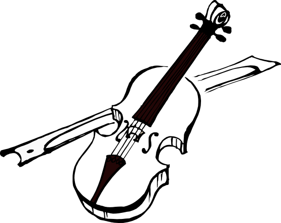 violin clipart black and white