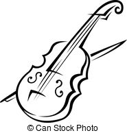 ... Violin and bow - Black and white doodle sketch of a violin.