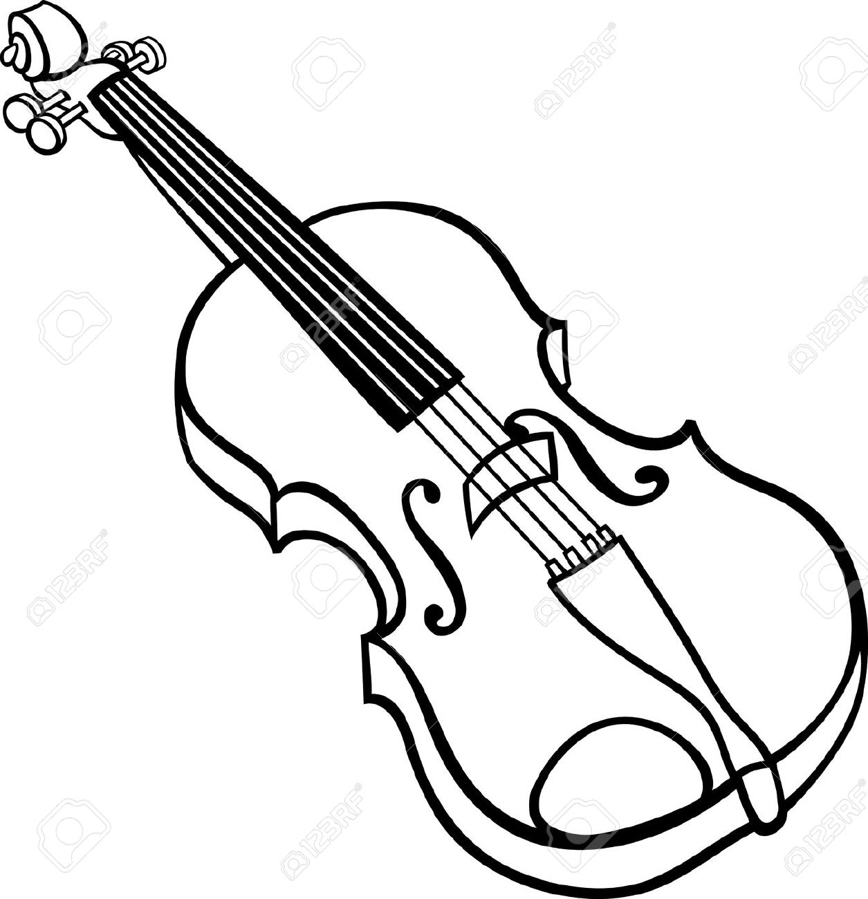 Violin Black And White Clipart. Black and White Cartoon .