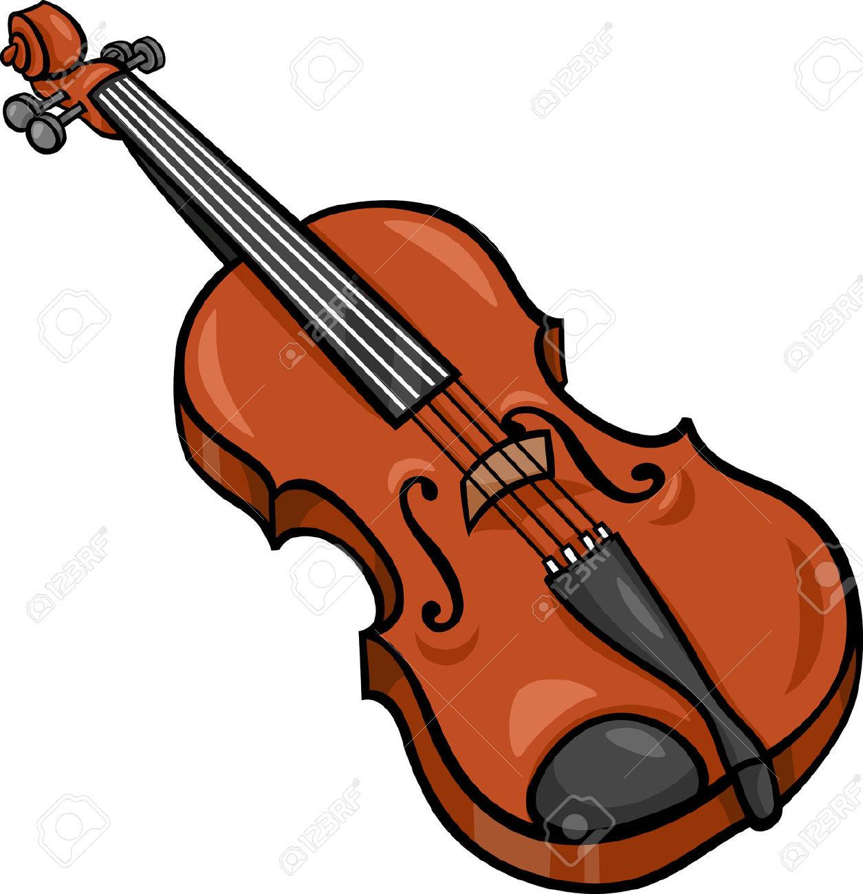 violin: Cartoon Illustration of Violin Musical Instrument Clip Art Illustration