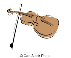 . ClipartLook.com Violin - A stylized drawing of a violin and bow with a spot.