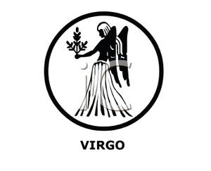 Black and White Virgo the Virgin Clipart Image