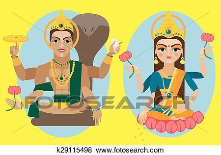 Clip Art - Vector Lord Vishnu And Mata L-Clip Art - vector lord Vishnu and mata Lakshmi. Fotosearch - Search Clipart,  Illustration-1