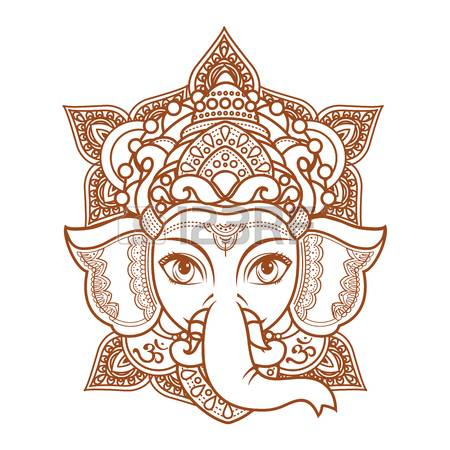 Hindu elephant head God Lord Ganesh. Hinduism. Paisley background. Indian,  Hindu motifs