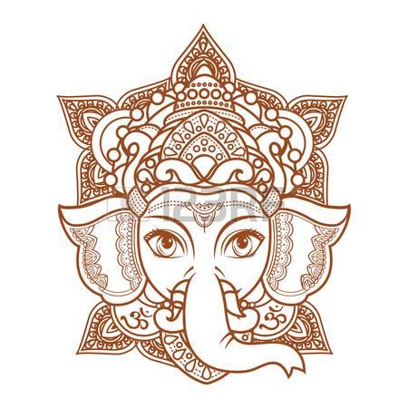 Hindu Elephant Head God Lord Ganesh. Hin-Hindu elephant head God Lord Ganesh. Hinduism. Paisley background. Indian,  Hindu motifs-5