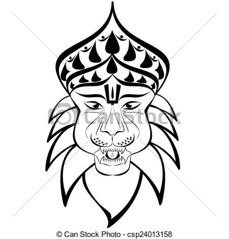Shri Nrisimha Or Narasimha, 4th Incarnat-Shri Nrisimha or Narasimha, 4th incarnation of Lord Vishnu as half-man  half-lion. Outline drawing-10