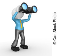 Digital vision Stock Illustrationby kgtoh3/192 Businessman - 3d people -  man, person with a binocular.