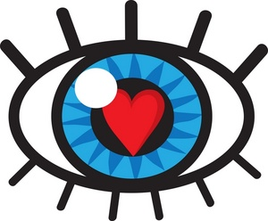 Vision Clipart Image: Eye with heart in the pupil symbolizing a person in  love