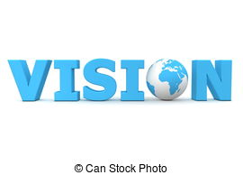 . ClipartLook.com Vision World Blue - blue word Vision with 3D globe replacing.