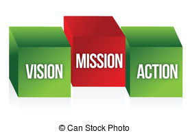 ... Vision, Mission and Action to symbolize a business strategy.