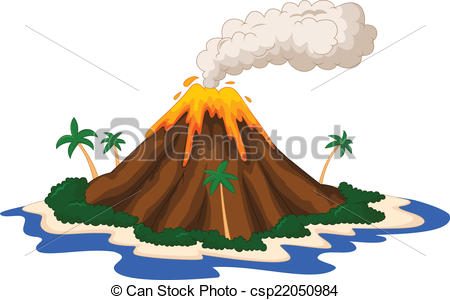 Volcanic island - vector illustration of Volcanic island .