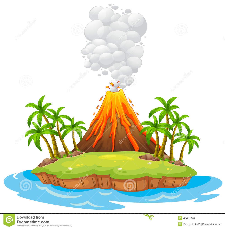 Volcano Island Stock Vector I - Clip Art Volcano