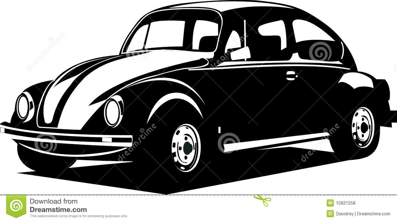Black and white volkswagen beetle. A vector illustration of a volkswagen  beetle silhouette car Royalty