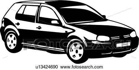 Clipart - VW Golf . Fotosearch - Search Clip Art, Illustration Murals,  Drawings and