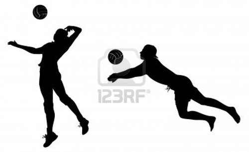 volleyball player clipart black and white