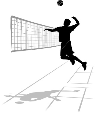 volleyball clipart of volleyball player spking the ball over the net in black and white