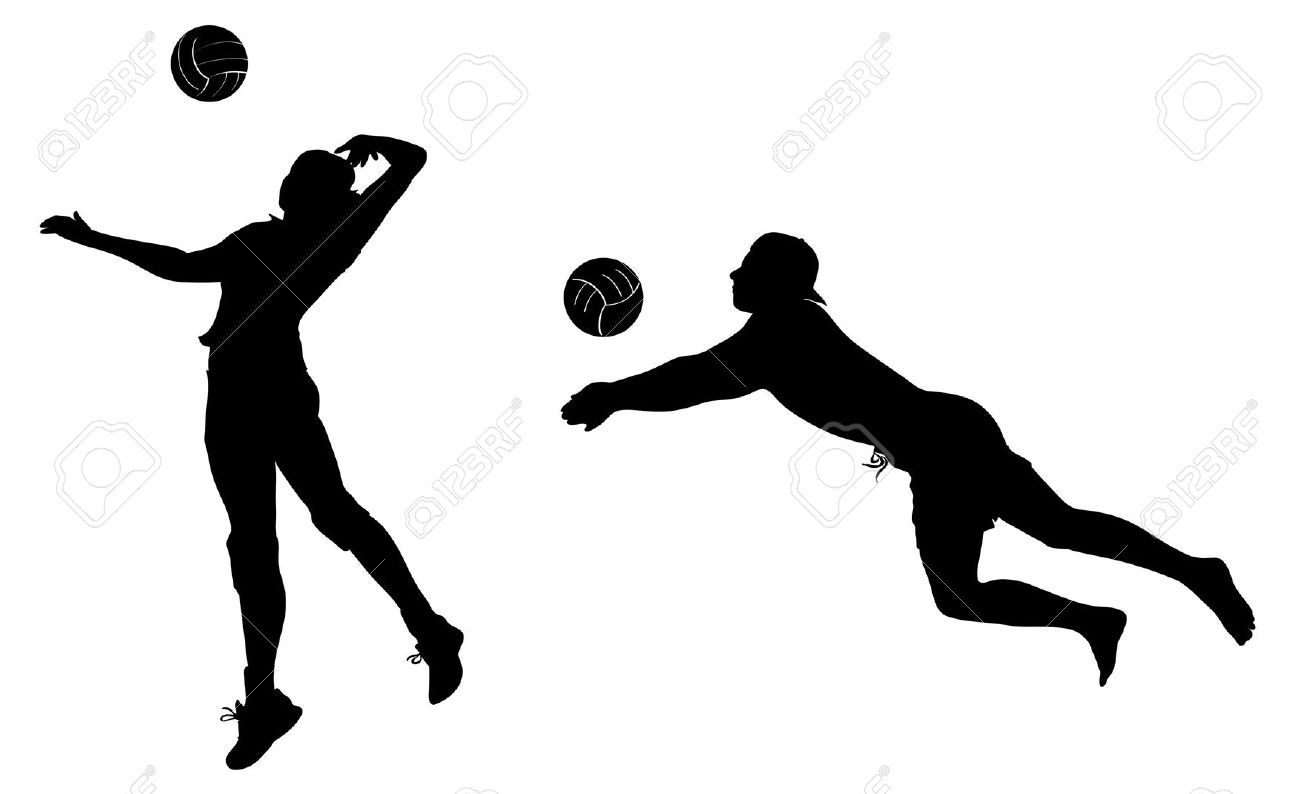 Volleyball players black icons. clip art-Volleyball players black icons. clip art. Stock Vector - 11102553-12