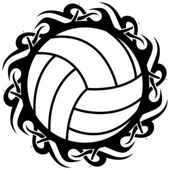 volleyball tribal in black and white