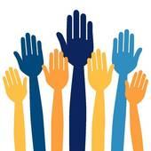 Hands volunteering or voting.-Hands volunteering or voting.-16