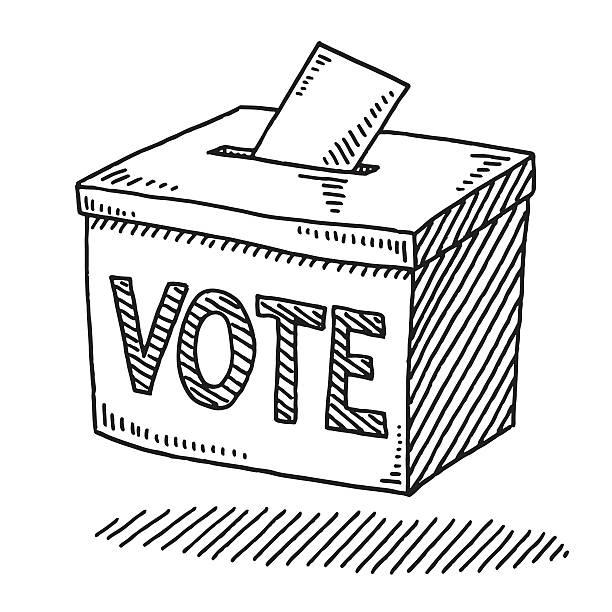 Vote Ballot Box Drawing vector art illustration