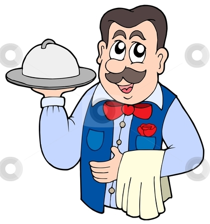 Waiter Bringing Food Clipart