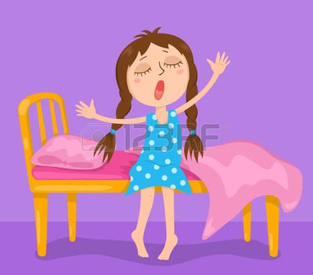 wake up girl: The cute girl wakes up. Ve-wake up girl: The cute girl wakes up. Vector cartoon illustration. Illustration-15